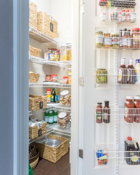 Kitchen pantry organization is a great home project to complete any time of year!  http://liketk.it/3cSz1 #liketkit @liketoknow.it #LTKhome #LTKstyletip #LTKunder50 home storage home organization small pantry Elfa system closet door storage wire shelving wire shelf pantry can risers turntable bin storage container Amazon find storage bin label