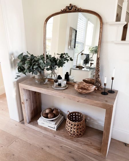 Console table, console table accessories, neutral home decor, simple home decor, Anthropologie mirror, coffee table books, StylinAylinHome   #LTKtravel #LTKstyletip #LTKkids