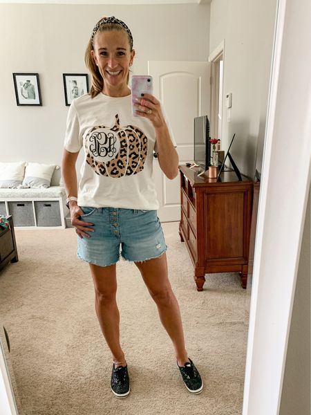 Leopard + pumpkins + sparkles = Fall  Feeling sassy in my monogrammed leopard pumpkin shirt sized up to a Medium for a looser fit. Also comes in long sleeves and sweatshirt! These shorts are the perfect length for moms and I'm wear a TTS 4! Kate Spade sparkle Ked's to kick it up a notch!  #LTKshoecrush #LTKunder100 #LTKSeasonal