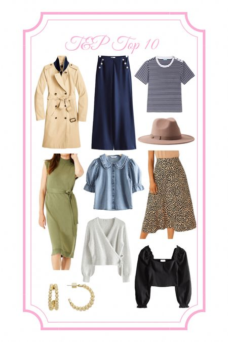Trench coat, summer to fall, fall outfit, fall transition outfit, sweater dress, chambray top, big collar, wrap sweater, and other stories, loft, puff sleeves, hoop earrings, brown hat, nautical pants, wide leg pants, striped t-shirt, midi skirt, cheetah skirt, leopard  #LTKfit #LTKunder100 #LTKbacktoschool