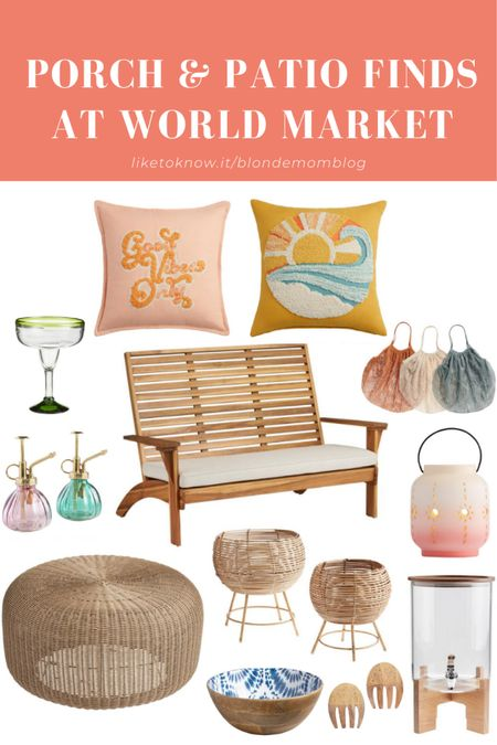 Get your patio and porch summer ready with all these amazing finds at World Market. ☀️  #patio #patiostyle #porch #outdoorfurniture #outdoorliving #bench #outdoorcushions #outdoorpillows #planters #bohostyle #plants #outdoorentertaining #worldmarket  #LTKhome #LTKSeasonal #LTKunder50