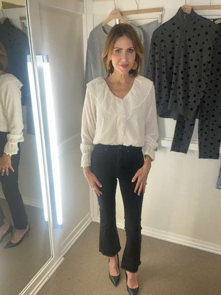 Sharing this date night look from @loft that is on major sale today.   Black kick flared cropped jeans, black cropped jeans, denim style, float blouse, cream blouse, date night look, loft style, loft fall outfit    #LTKunder50 #LTKsalealert #LTKstyletip