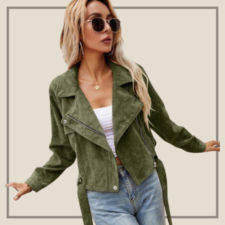 Buckle belted zip up corduroy jacket from Shein   #LTKstyletip #LTKunder50