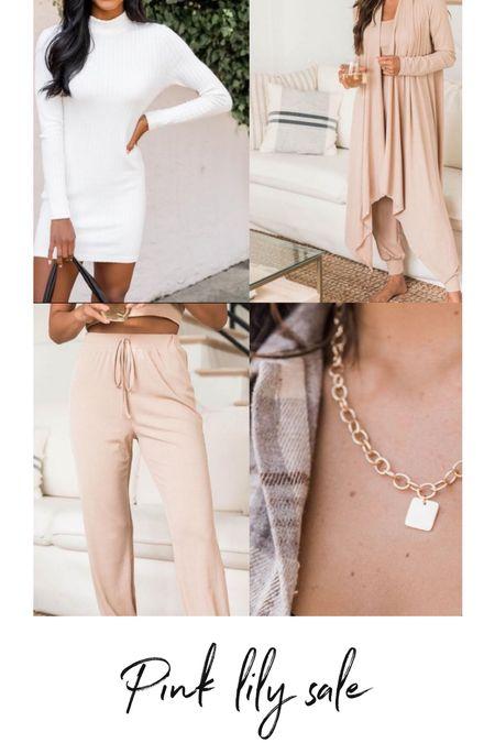 Pink lily sale 💯 joggers and jewelry and sweater dress   #LTKSale #LTKSeasonal #LTKHoliday
