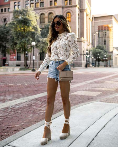 Summer outfit ideas Wayf lace top (certain colors on sale) Levi's denim shorts  Castañer espadrille wedges   http://liketk.it/3i5Tl #liketkit @liketoknow.it #LTKsalealert #LTKshoecrush #LTKstyletip