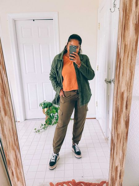Fall casual look, fall style, fall outfit ideas, khaki shacket, army color shacket, dolce vita sneakers, leather sneakers, sweatshirt, American eagle, banana republic factory   #LTKstyletip #LTKunder50 #LTKSeasonal