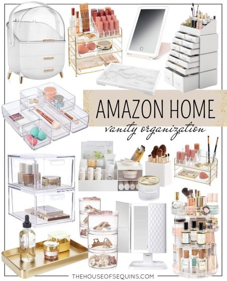 Amazon home vanity organization. #bathroomstorage #vanitystorage #bathroomorganization #bathroomessentials #makeupstorage #makeuporganization #vanitymirror #skincarestorage Follow my shop on the @shop.LTK app to shop this post and get my exclusive app-only content!  #liketkit  @shop.ltk http://liketk.it/3nnur  #LTKhome #LTKunder50 #LTKunder100