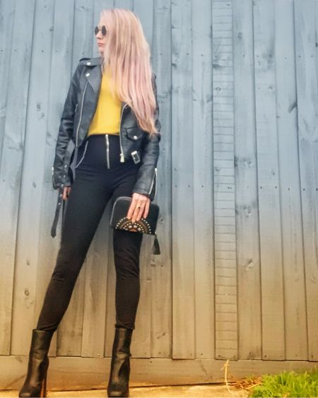 Faux leather, mustard top, black leggings with zip.. Similar products linked      http://liketk.it/3hNEU #liketkit @liketoknow.it #LTKunder50 #LTKshoecrush #LTKstyletip Follow me on the LIKEtoKNOW.it shopping app to get the product details for this look and others