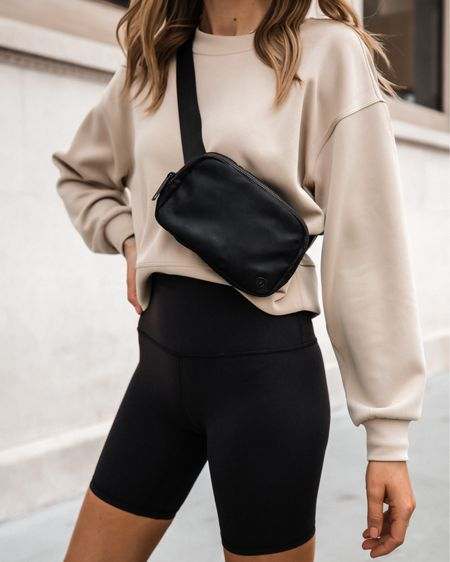 """Love these black biker shorts from lululemon. Fit tts and these are the 8"""" length. They are INCREDIBLY comfortable. Sweatshirt color is trench and wearing a 4 (tts)   #LTKunder100 #LTKfit #LTKunder50"""