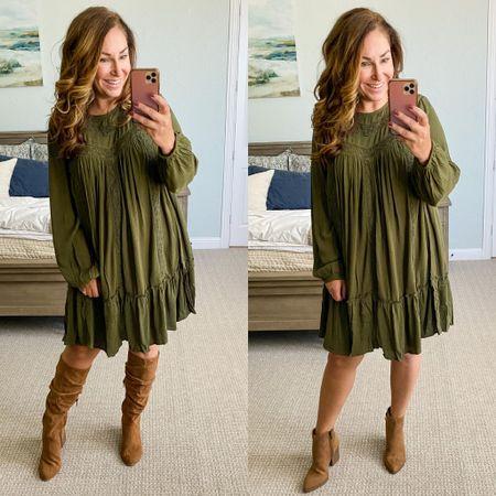 Walmart green blouson sleeve dress, L but runs small // Walmart knee high boots, tts // Walmat Time and True booties, tts  Walmart Fashion Women's Fall Clothing Comfy Fall Clothing Fall Workwear  #LTKstyletip #LTKSeasonal #LTKshoecrush