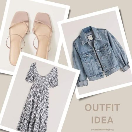 fall outfits, fall outfit idea, fall outfit inspo, Abercrombie,  dress, denim jacket, shoes