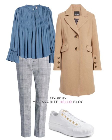 Casual Work outfit with camel coat, boho top , plaid pants, white sneakers  #LTKunder100 #LTKstyletip #LTKworkwear