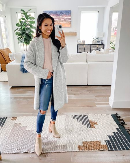 My favorite Nordstrom anniversary sale find has this Vince coatigan or cardigan! Oversized fit but fits true to size. It's super luxe , warm, and cozy. Pairing with a VINCE sweater, AG Jeans and Steve Madden booties for a fall outfit. Love this NSale outfit.   #LTKstyletip #LTKshoecrush #LTKsalealert