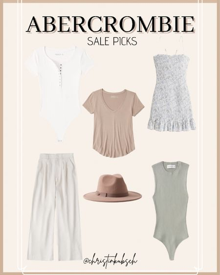 Abercrombie sale picks  Vneck Bodysuit Panama hat Wide leg pants Linen pants  #LTKunder50 #LTKsalealert #LTKunder100