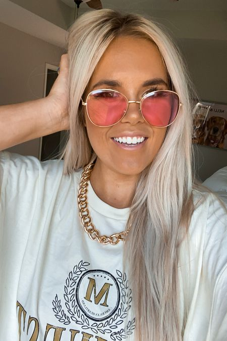 accessories // concert // pink sunglasses // retro // shein // graphic tee // boho   #LTKstyletip #LTKbeauty #LTKunder50