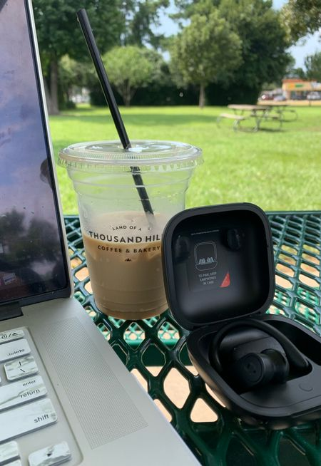 Blog work while my daughter is at volleyball. My Powerbeats Pro Wireless Earphones allows me to listen to music while I work. #Earphones #Beats #Coffee #Blogger