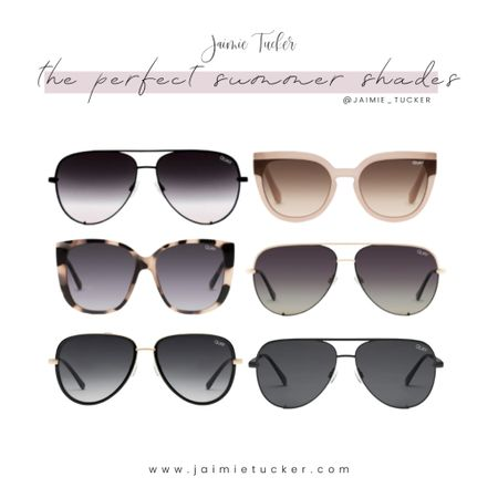 The perfect pair of summer shades. Take a look at some of my favorites from Quay Australia. | #summeraccessories #summershades #sunglasses #summeroutfits #vacationoutfits #vacationaccessories #bestsellers #QuaySunglasses #Aviators #JaimieTucker  #LTKstyletip #LTKtravel #LTKunder100
