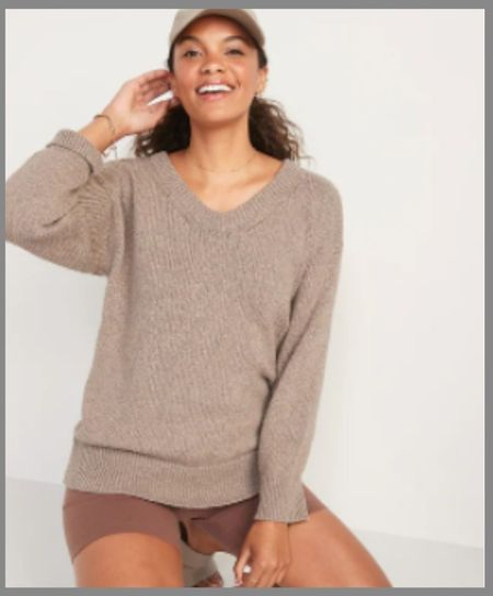 oversized vneck old Navy sweater.  #LTKunder100 #LTKunder50 #LTKsalealert