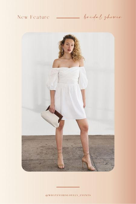 We are loving this dress from Express for all your bridal functions!   Think: summer dress, summer dresses, summer dress midi, summer dress outfit, summer dress white, white summer dress, white dress outfit, bridal shower dress, bridal dress, bridal luncheon dress, engagement party, engagement shower, bachelorette party, bride outfit, bride, wedding    #LTKwedding #LTKunder100 #LTKstyletip