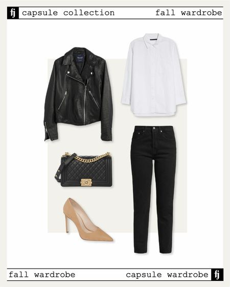 Fall capsule wardrobe! Black leather jacket fall outfit idea with a white button up shirt (JACKSON15 discount) and black jeans (size up)   #LTKstyletip #LTKunder50 #LTKunder100