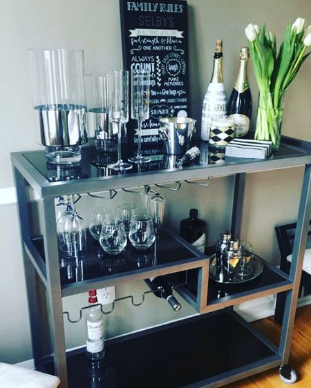 The bar cart is one of my favorite pieces in our home. Choosing the right bar cart is key. The goal - style meets functionality. This HollyandMartin  bar cart from Target is super swanky, it has room for wine, alcohol, mixers, your beautiful glass + bar ware, and other accouterments. Shop the link! http://liketk.it/3cW5s #liketkit @liketoknow.it #LTKhome #LTKstyletip