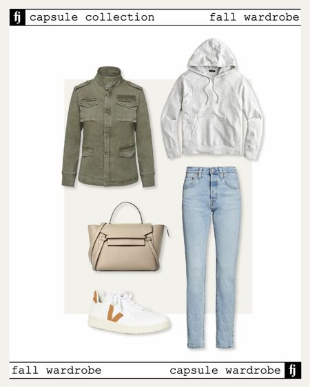 Fall capsule wardrobe. Utility jacket casual fall outfit idea with grey hoodie sweatshirt and white Veja sneakers   #LTKstyletip #LTKunder50 #LTKunder100