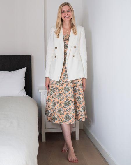 White linen blazer perfect for layering over dresses! Save 40% when you add to your bag! Runs TTS . . .  Blazer, white blazer, double breasted blazer, summer jacket, off white, linen, on sale, under 100 #liketkit @liketoknow.it http://liketk.it/3lJn4   #LTKunder100 #LTKstyletip #LTKsalealert