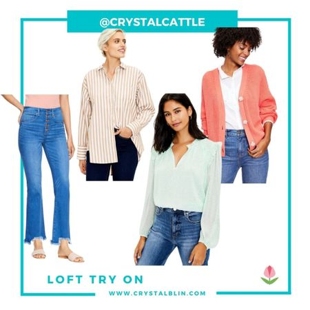Tried on some new fall pieces at Loft. 30% off sale is going on right now. Sized down to a small in the striped tunic. Medium in the green and cardigan. The jeans are true to size and I stuck with the regular length instead of petite. #hocspring #houseofcolour   #LTKunder50 #LTKsalealert