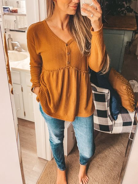 Amazon find: cutest fall top that's a Free People dupe for only $22. Wearing size: Small   #LTKSeasonal #LTKunder50
