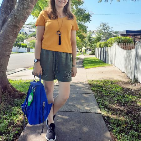 Simple yet colourful 💛💚 mustard tee and olive shorts with an extra pop of colour from my nylon Rebecca Minkoff Julian backpack 💙 easy outfit for a hot day at a messy play event with my little one after dropping his brother off at school. Lots of fun but I kept the outfit and bag simple as I often get some mess on me at these things 😅 luckily the nylon backpack just wipes clean with a baby wipe!   ---------------------  --------------- -------------- ----------------- -----------  Screenshot this pic to shop the product details from the @liketoknow.it app, or click here: http://liketk.it/3ecvy #liketkit #LTKitbag #bagoftheday #RebeccaMinkoff #myRM #everythingLooksBetterWithABag #everydaystyle #realeverydaystylepic #realmumstyle #wearedonthestreet #nevervainalwayscolour #dopaminedressing