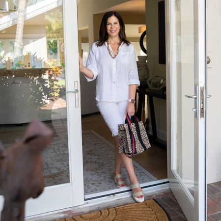 Stepping into Monday dressed all in white - and it feels right! 🤍   Used to wait til after Memorial Day Weekend to sport the all white look, but no more!  What about you? Wait til MDW or all year round?  Loving this @lovechicos easy-peasy linen shirt and Bridgette so-slimming shorts.  I live in these shorts- have them in five colors! Perfect length for me.  Accessorized my white look with this fab leopard tote and tortoise chain from my boutique, @shopping.withgigi. Available in so many fun colors!!  Would love for you to check out my little shop - link in bio, and for my white easy-care top and shorts, click the Liketoknow.it-Instagram link in my bio!  Have a terrific Monday, friends. Let's do it! 🤍🤍🤍  http://liketk.it/3fqFj #liketkit   Shop my daily looks by following me on the LIKEtoKNOW.it shopping app @liketoknow.it  shoes: @cecelianewyork  shirt: @lovechicos  shorts: @lovechicos  tote: @shopping.withgigi  necklace: @shopping.withgigi   #mystylemyway #bechic #beyou #beyourbestself #ageisjustanumber #aginggracefully #agelessstyle #liketoknowit #ltkstyletip #ltkunder50 #ltkfashion #ltkspring #whiteonwhite #gwenliveswell #onlineshopping #onlineboutique #femaleownedbusiness #styleover60 #styleover50 #styleinspiration #shareootdinspirations #workyourbeautytour #mondaymotivation #mondayvibes #letsdothis #womenoftoday #ig50community