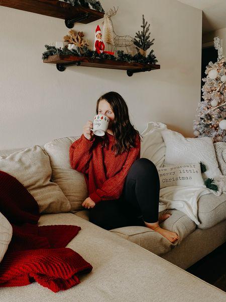 Target sweater ! Wearing an xxl #liketkit http://liketk.it/33zJ4 @liketoknow.it #StayHomeWithLTK #LTKhome #sweater #elf #shelves #christmasdecor #blanket