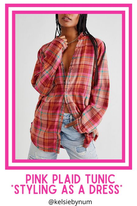 Pink plaid flannel tunic! Ordered the XS Summer Daydream buttondown