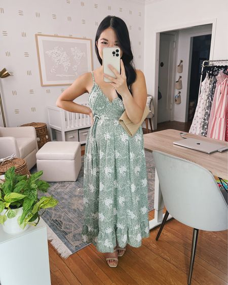 Amazon finds, Amazon fashion, wedding guest dresses, summer dress, summer outfit: green floral dress, mint floral dress, green midi dress, Saint Laurent monogram clutch, nude clutch, nude strappy sandals, mule sandals, nude mules. @liketoknow.it http://liketk.it/3jrO0 #liketkit #LTKunder50 #LTKstyletip #LTKwedding