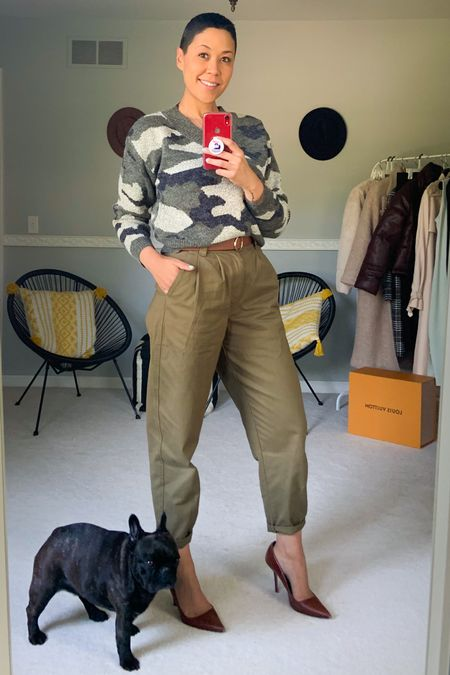 Camp Sweater Chunky sweater Paperbag pants Olive pants Brown pumps  http://liketk.it/2XdNm #liketkit @liketoknow.it