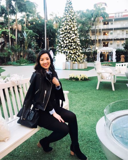 Still reminiscing about the holiday decor @delcoronado in San Diego. Just loved the setup of palm trees during Christmas time. Can you believe they even have an ice rink facing the ocean? Literally, Winter Wonderland. So amazing! Snag my new favorite leather jacket and my other inspirations for the week! http://liketk.it/2J16q #liketkit @liketoknow.it
