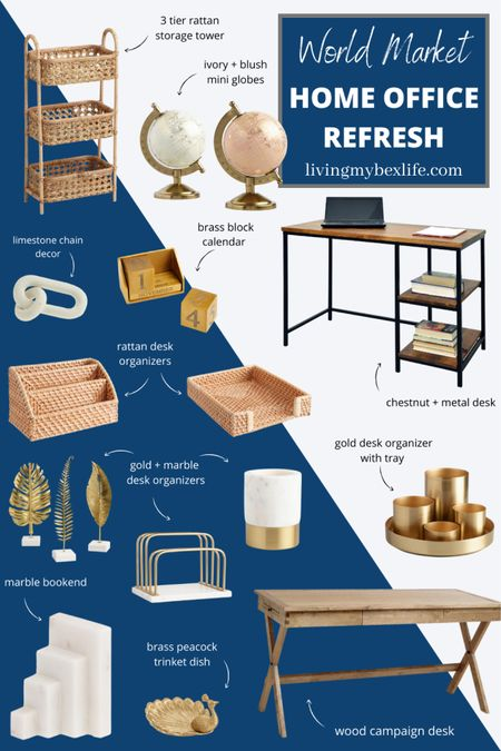 Headed back to your WFH office with a Covid rearing it's ugly head for a round 2? Freshen up your space (and your Zoom background) with these neutral + stylish pieces from World Market. Whether you're into natural rattan touches or gold + marble accents, you'll find everything you need for a little home office inspiration at budget-friendly prices!   #LTKhome #LTKunder50 #LTKworkwear