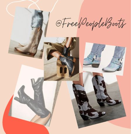 These Boots and Booties by Free People are the cowboy boots we all need! I love the crop leather and cowhide print too!   #LTKshoecrush #LTKstyletip #StayHomeWithLTK
