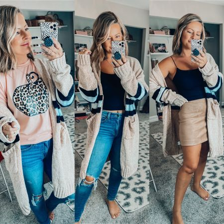 The coziest, softest cardigan I've ever put on! Plus it's on sale 50% off! Sharing all other outfit links here also.   #LTKstyletip #LTKsalealert #LTKSeasonal