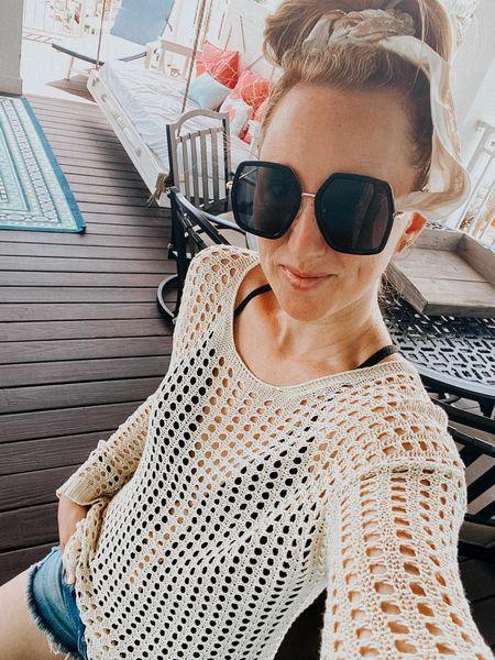 Swimsuit cover up and oversized sunnies!   #crochettop #oversizedsunglasses #swimwear #hairscarf  #LTKswim #LTKunder50 #LTKSeasonal