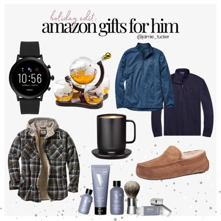 Gifts for Him from Amazon! Check out my top 8 picks. | #giftguide #holidaygiftguide #menschristmasgifts #mensholidaygifts #giftsformen #mensweaters #menslippers #mensuggslippers #smartwatch #shavingkit #mensgifts #giftsforhim #JaimieTucker  #LTKmens #LTKstyletip #LTKHoliday