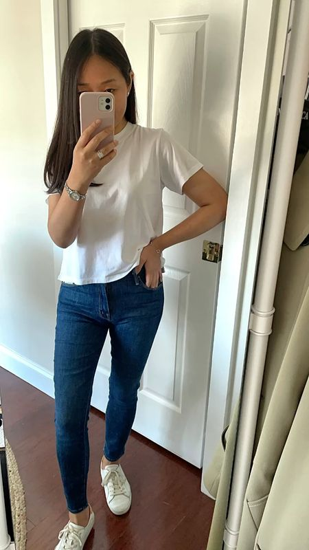 """Finally trying these MOTHER denim in size 25 with a very petite friendly (ankle length) inseam. I'm 5' 2.5"""". This style is stretchy, mid rise and doesn't dig in at the waist. True to size for me. They're very pricey and a splurge so I'm trying to decide if I want to keep them. I have been ordering jeans from various brands to try lately."""