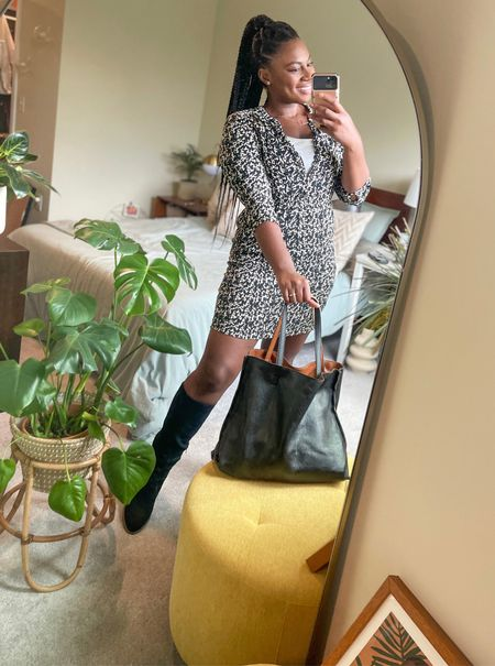 Office outfit for fall. Reversible tote Shirt work dress with tall boots with chunky heels. cowboy boots for work wear.   #LTKcurves #LTKshoecrush #LTKworkwear