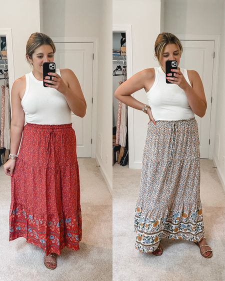 """Best maxi skirt under $35!  Comes in over 15 prints!! Fits tts. I'm 5'7"""" and typically a size 8. Left (red) is a medium and right is a large. Would make such a cute maternity option too! @liketoknow.it http://liketk.it/3h210 #liketkit Amazon find, Amazon finds, @amazonfashion #amazon #amazonfashion #founditonamazon #LTKunder50 #LTKstyletip #LTKunder100"""