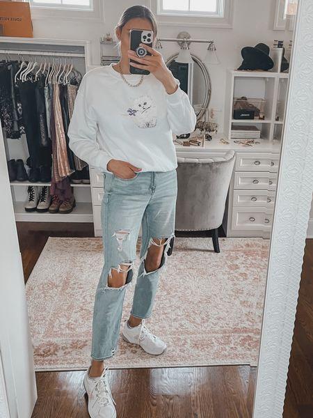 Topshop graphic sweatshirt and ripped mom jeans   #LTKunder50 #LTKunder100 #LTKstyletip