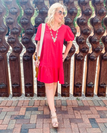Got a little dressed up for lunch at a new to me spot at @thehistoricpearl called @brasseriemonchouchou and it was magnifique! This red linen dress flatters so many skin tones and it's under $35! Runs a little oversized so I'm wearing it in an XS. You could easily dress it down with white sneakers and a denim jacket. I think it's a great find!! #summerdress #summer #fashionover40 #styleover40 #fashionover50 #linendress #walmartfashion #cwonder #weddingguestdress #LTKunder50 #LTKwedding #LTKworkwear #liketkit @liketoknow.it http://liketk.it/3k67I