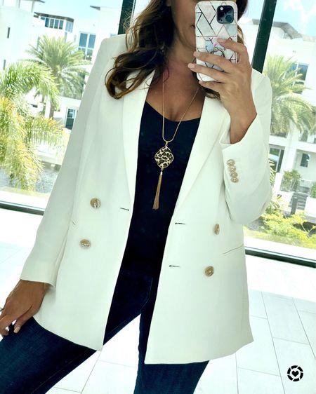 Workwear style! I love a great blazer to elevate any outfit!  White boyfriend blazer Express  http://liketk.it/3hNU6 #liketkit @liketoknow.it #LTKworkwear #LTKunder100 #LTKsalealert # jewelry #nexklace #braclets #bangles