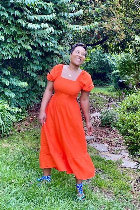 Open back puff sleeve orange maxi dress gingham print sandals #targetstyle #anntaylor  #LTKunder100 #LTKunder50