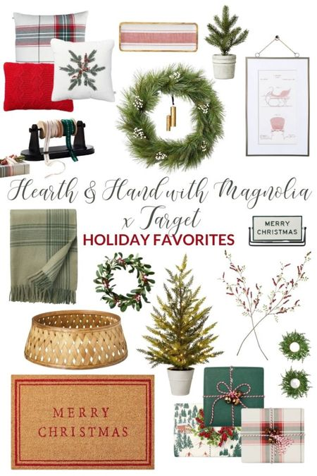I've gathered my favorite holiday decor items from the Hearth & Hand with Magnolia and Target Holiday decor  line! It's all so pretty, but my favorites are the red striped enamel & wood tray, metal ribbon holder, red chunky knit throw pillow, holiday plaid throw pillow, foliage snowflake throw pillow, mini faux cedar wreath gift toppers, faux pine & white berries wreath, Pre-lit faux potted cedar tree, faux winterberry plant stem, mini faux mistletoe wreath, sleigh print wall art, Merry Christmas coir doormat, reversible holidays sign, faux pine tree in cement pot, green plaid fringe throw blanket, stained woven tree collar, dark green gift wrap, winter ski gift wrap and plaid gift wrap. Love them all!! #LTKHoliday #LTKunder50 #LTKunder100 #LTKhome #LTKsalealert #LTKstyletip #LTKhome #LTKunder50  #LTKunder50 #LTKhome #LTKHoliday