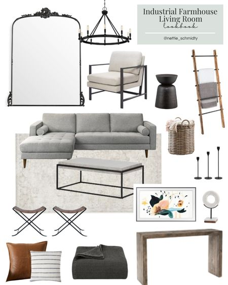 Industrial Famrhouse Living Room Decor 🤍 Inspiration for a neutral modern family room, living space or den with large chaise sectional couch, marble coffee table, extra large arhaus mirror (like the anthropology mirror!) leather accents, and black / bronze decortative objects and candlesticks.  .  Download the LIKEtoKNOW.it shopping app to shop this pic via screenshot http://liketk.it/3jfZT #liketkit @liketoknow.it #LTKhome #LTKstyletip #LTKunder100 @liketoknow.it.home